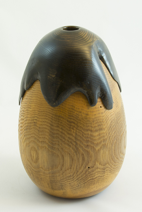 Wood Vase Ash- Eggplant