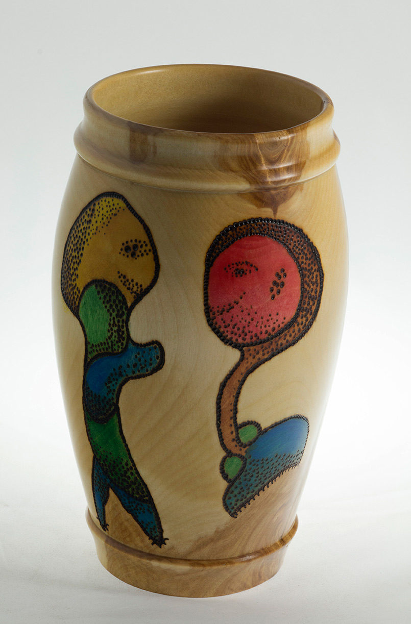 Wood Vase wood burning and color- The Encounter