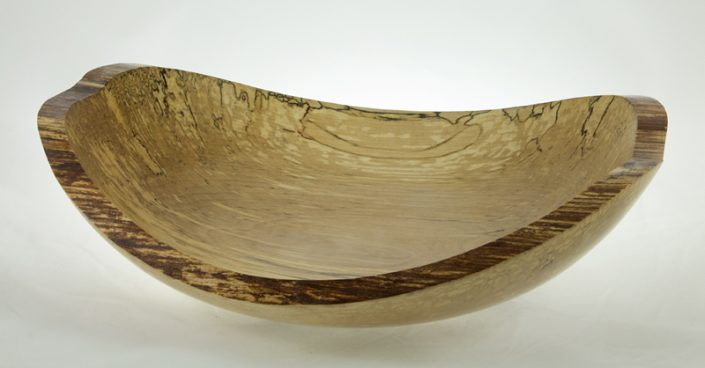 Wood bowl - #647-Spalted Yellow Birch 12.75 x 10.75x 3in.