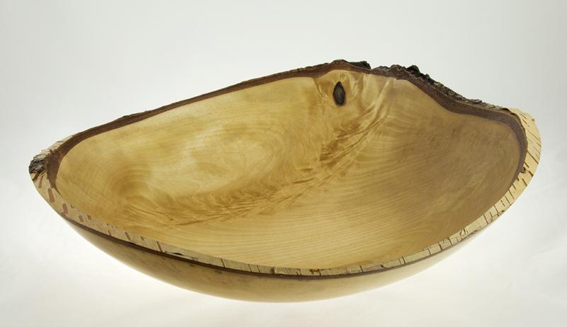 Wood bowl - #678-White Birch 15.5 x 14.5 x 3.5in.