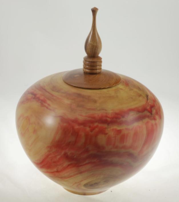 Wood cremation urn - #102-Boxelder maple 9 x 7in.