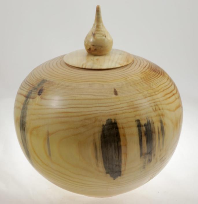 Wood cremation urn - #105-pine 9.75 x 7.25in.