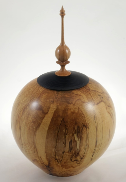 Wood cremation urn - #114-Spalted Maple 9 x 13.75in.