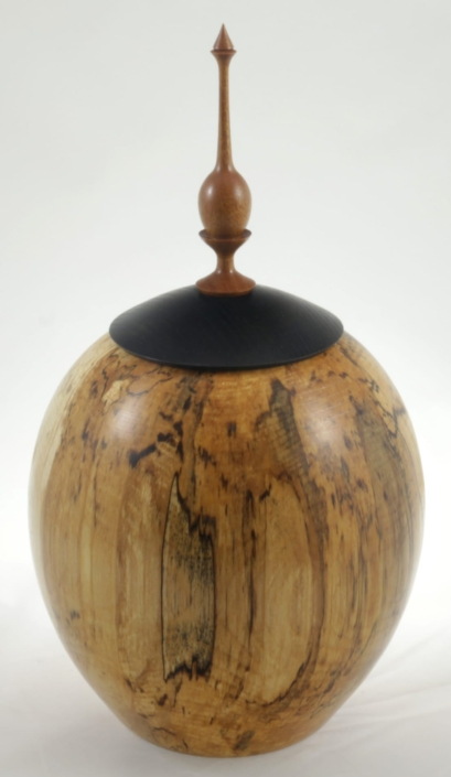Wood cremation urn - #117-Spalted White Birch 8.5 x 14in.