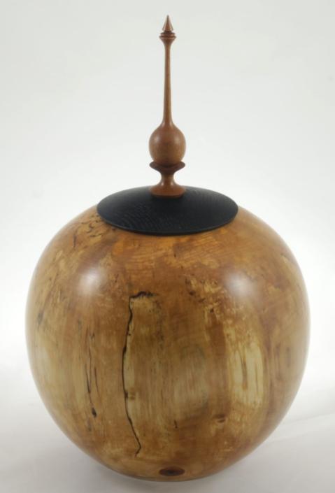 Wood cremation urn - #117-Spalted White Birch 9 x 13.5in.