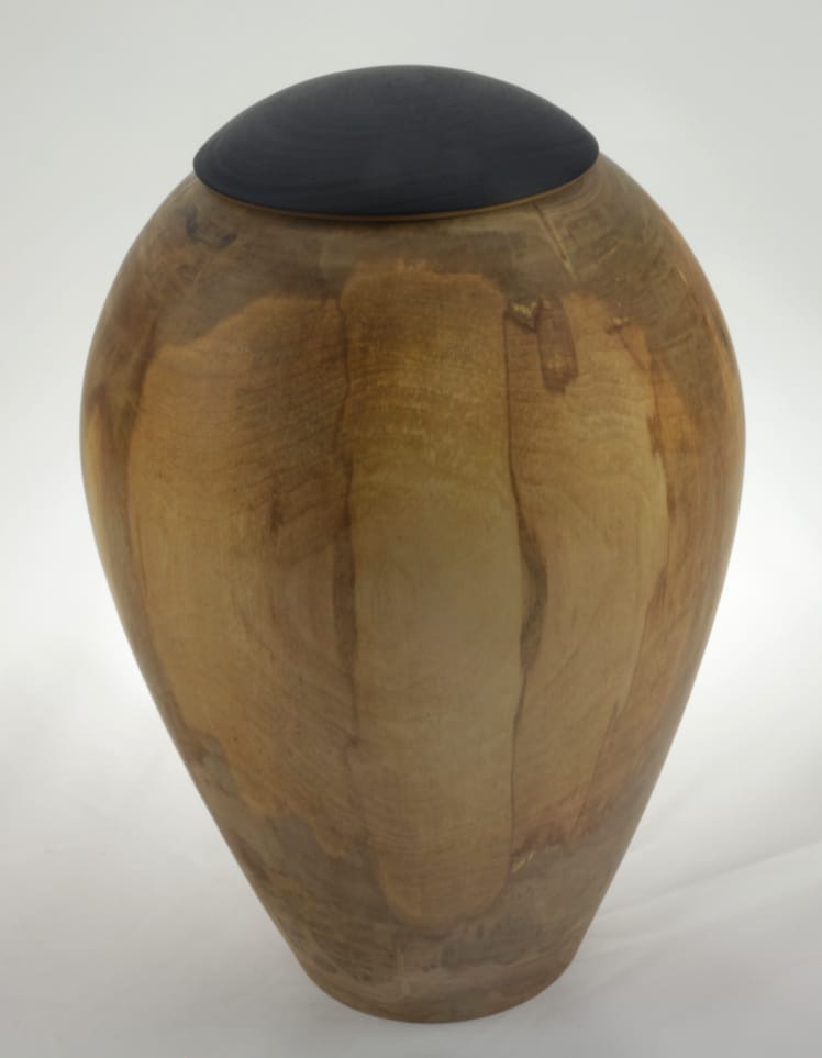 Wood cremation urn - #131-Spalted Maple 7.5 x 10in.