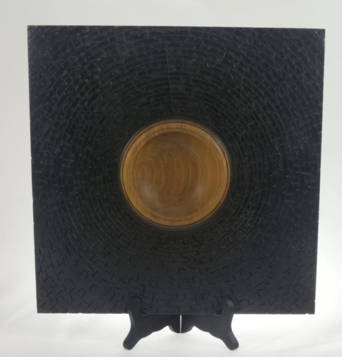 Wooden bowl textured African Walnut #640-13 x 1.5in.